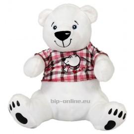Полярна мечка с карирана блузка 30см